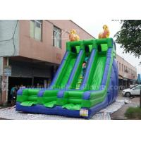 China Green Color Double Lane Inflatable Slide Toys For Outdoor Fire Retardant wholesale