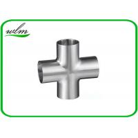 China Butt Weld Straight Cross Fittings Stainless Steel Hygienic Fittings 15 Bar Pressure wholesale