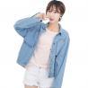 China Metal Button Light Wash Ladies Jean Denim Jacket , Girls Short Denim Jacket wholesale