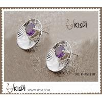 China New fashion round sterling silver gemstone earrings with zircon W-AS1110 wholesale