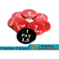 China Red / Black  Anti - Fade Casino Game Accessories 40 Mm Plastic Insurance Code Set wholesale