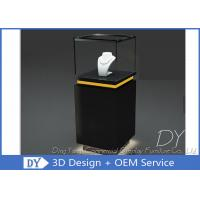 China Pre - Assembly Black Exhibit Pedestal Display Showcase With Lighting wholesale