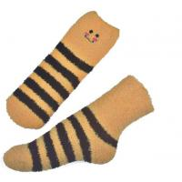 China Yellow Smile pattern mens aloe socks Polyester plush therapy 19x13x8.5 cm wholesale