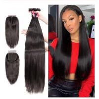 China Virgin Brazilian Human Hair Extensions / 3 Bundles Human Hair With 4 X 4 Lace Closure wholesale