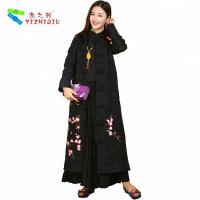 China Black Single Breasted Embroidered Winter Coats Chinese Embroidered Jacket on sale