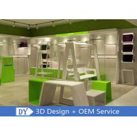 China Simple Fashion Style Glossy White Green Kids Clothing Stores Fixtures With Rack wholesale