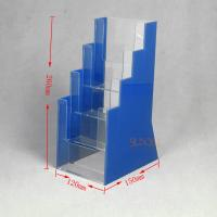 Quality OEM Clear Plasitc Acrylic Brochure Holders Floor Display Stands Trapezoid for sale