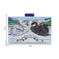 China Art Gallery Style Square Clutch Bag Swan Pattern For Ladies , Personalised Acrylic Clutch on sale