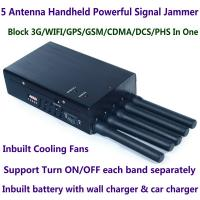 China 5 Antenna Handheld Cell Phone 3G WIFI GPS GSM CDMA DCS PHS Signal Jammer 20M Shield Radius wholesale