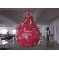 China 2.5M Red PVC Inflatable Commercial Helium Balloons Cell Printing Water Drop Shaped wholesale