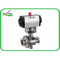 Quality Tri Clamp Sanitary Ball Valves With Aluminum Pneumatic Actuator , Non Retention for sale