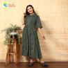 China Floral Print Long Sleeve Cotton Maxi Dress , Beautiful Long Sleeve Dresses Turn Down Collar wholesale