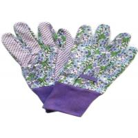 China Purple Printed Working Hands Gloves Polar PVC Dots For Women Gardening wholesale