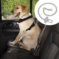 China Dog Car Seat Belt Clip Leash Quick Fit Stainless Steel Chain Dog Leash 21 Long on sale