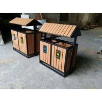 China Outdoor Playground Equipments Imitative Wood Garbage Double Dustbin wholesale