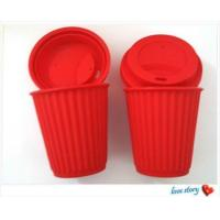 China silicone coffee cup with lid ,promotion travel silicone coffee cups wholesale