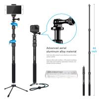 China Gopro / Smartphone / Dslr Camera Selfie Stick , HSU 3 Section Telescopic Extension Pole wholesale