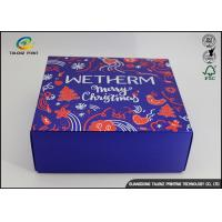 China Luxury Christmas Printed Blue Cardboard Gift Boxes / Packaging Paper Box wholesale