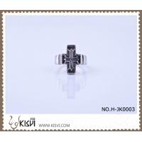 China Low MOQ 316l stainless steel cross ring with black enamel H-JK0003 wholesale