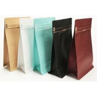 China Foil Kraft Paper Flat Bottom Ziplock Coffee Packaging Pouches With Valve wholesale