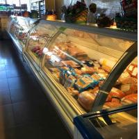 China Commercial Serve Over Counter Deli Freezer Cold Food Fresh Meat Display Refrigerator Showcase wholesale