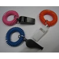 China Wrist Coil Strap Spiral Key Holder W/Promotional Plastic Whistle wholesale