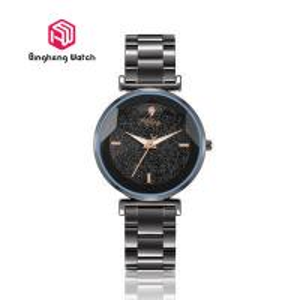 Luxury IP Black Stainless Steel Watch , Black Waterproof Watches For Women