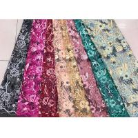 China Gold Silver Sequin Fabric , Multi Colored Embroidered Floral Dress Lace Fabric For Gown wholesale
