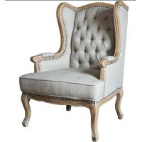 China European Rustic Wooden Leisure Chair For Bedroom , Antique Upholstered Armchairs wholesale