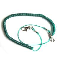 China Dark green high pulling wire inside plastic stretchy coil lanyards for fishing camping use wholesale