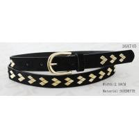 China Fake Suede Ladies Fashion Belts Ln Gold Color Of Rhombus Shape Metal & Buckle wholesale