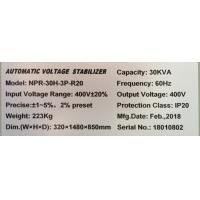 Quality Super Low Voltage 30KVA 380V Three Phase Voltage Stabilizer 50Hz  / 60Hz for sale