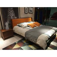 China 2017 New design of  Leather Upholstered headboard Bed by Walnut wood frame for Young Apartment  bedroom furniture use wholesale