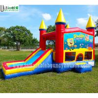 China 5in1 Kids Module Panel SpongeBob Inflatable Bounce House With Pillars N Hoop wholesale