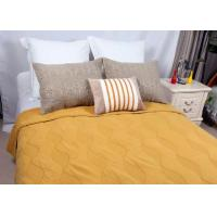 China Cotton Plain Dyed Yellow Quilted Bedspread , Embroidered Hotel Collection Coverlet wholesale