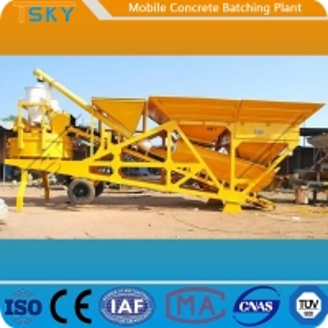 China Skip Hoist Feeding HZS50 Mobile Concrete Batching Plant wholesale