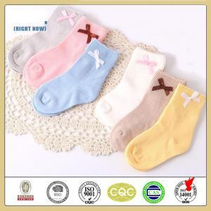 China Elegant high quality custom plain color bowknot cotton baby socks wholesale