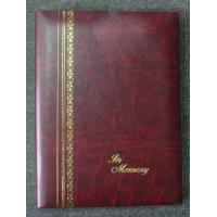 China Burgundy Gold Stamped Register Funeral Memorial Books 6Ring Binder wholesale