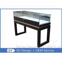 China Black Custom Glass Display Cases Plinth For Jewelry / Watch With LED Lighting wholesale