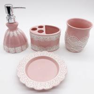 China Pink Lace Dress Ceramic Bathroom Set / Soap Lotion Dispenser SetDish Brush Holder on sale