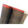 China 10 × 10 MM PTFE Teflen Mesh Curved Conveyor Belt Coated Fiberglass Red Edge wholesale