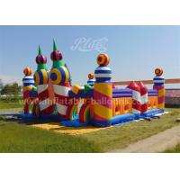 China Rainbow Color Inflatable Bouncy Castle Candy World Giant With CE Blower wholesale