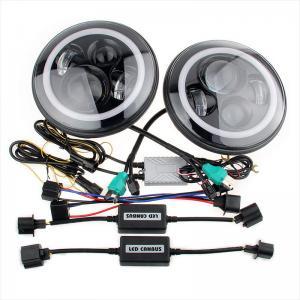 China 70W Led Jeep Wrangler Headlights , High Low Beam Halo Angel Eyes Headlights wholesale