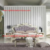 China Flowers Headboard Wooden Bed in Neoclassical fabric design for luxury multiple star B& B Room Furniture wholesale