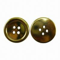 China 2-hole round ABS plating golden button, eco-friendly wholesale
