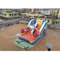 China Cartoon Themed Inflatable Slip N Slides SpongeBob Bouncer For Amusement Park wholesale