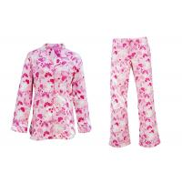 China 100% Cotton Flannel Button Up Womens Pyjama Sets With Piping And Long Pants wholesale