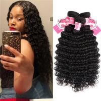 China Deep Wave Peruvian Human Hair Bundles 3 Pieces Virgin Remy Hair Weave wholesale