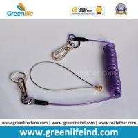 China Purple Plastic Tool Coiled Lanyard W/Hook&Key Ring on sale