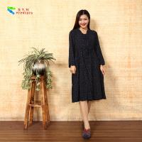 China Vintage Ladies Long Sleeve Dresses Plus Size Notched Collar For Spring / Autumn wholesale